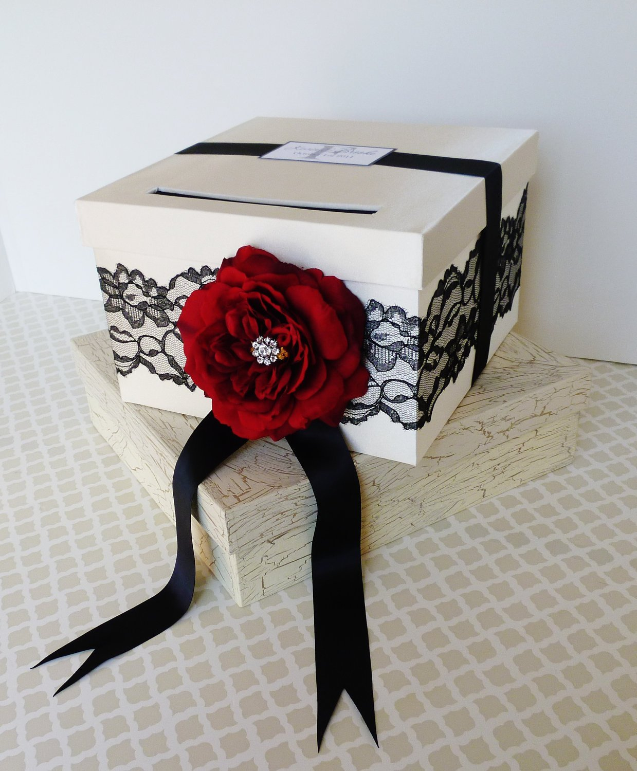 Wedding Card Box Money Holder Ivory and Black with Red Rose Lace Customizable