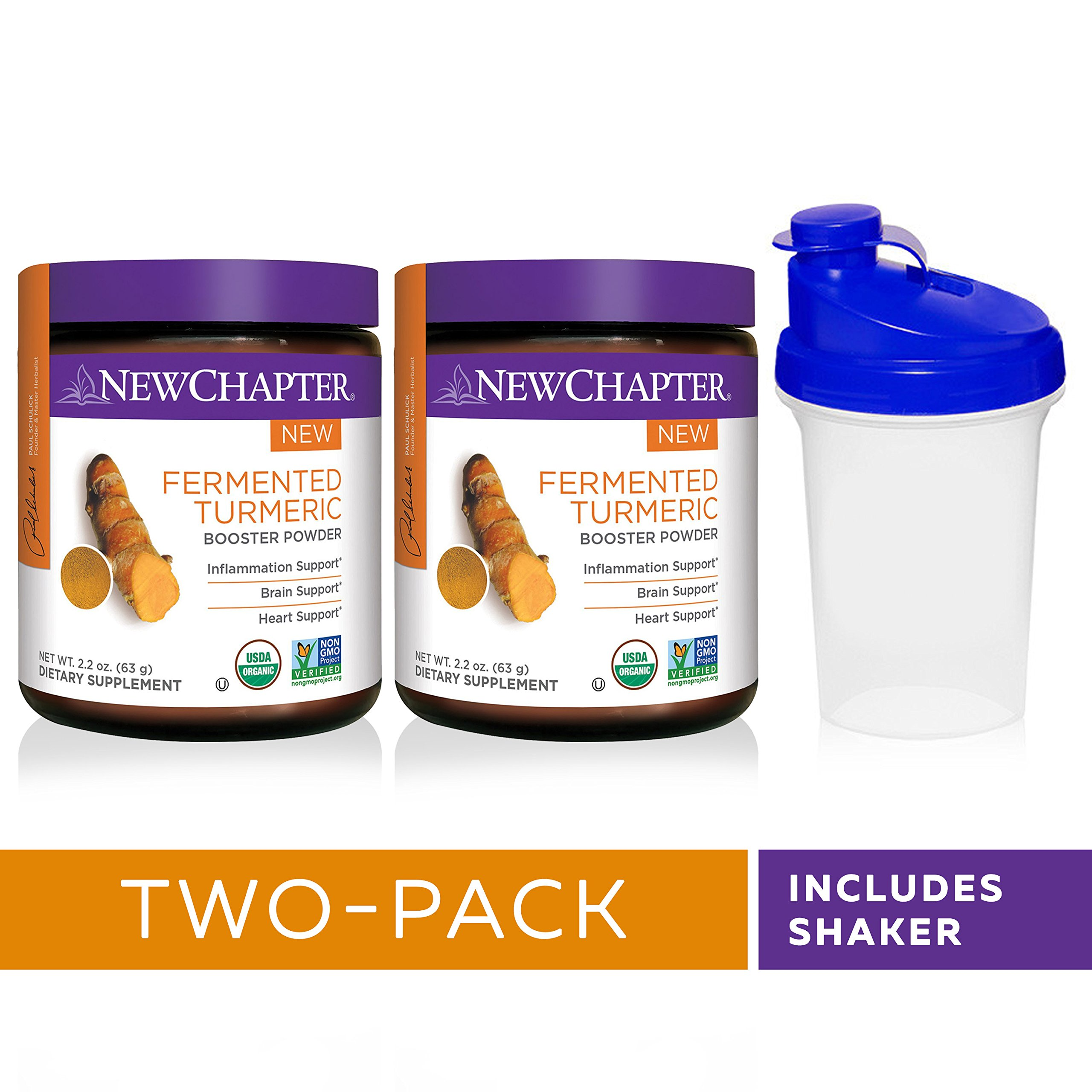 New Chapter Organic Turmeric Powder - Fermented Turmeric Booster Powder for Brain, Heart and Inflammation Support – 45 Servings with Shaker Cup (Pack of 2)