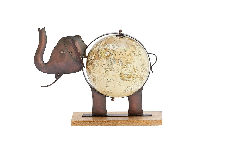 [デコ 79]Deco 79 Metal Wood Elephant Globe, 17 x 13, Bronze 42132 [並行輸入品]   B01CEB08BI