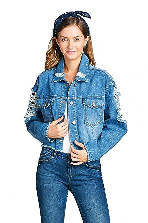 7cb2f7ed57b Khanomak Women s Oversized Cropped Basic Collar Button Front Distressed  Ripped Denim Jacket (Medium