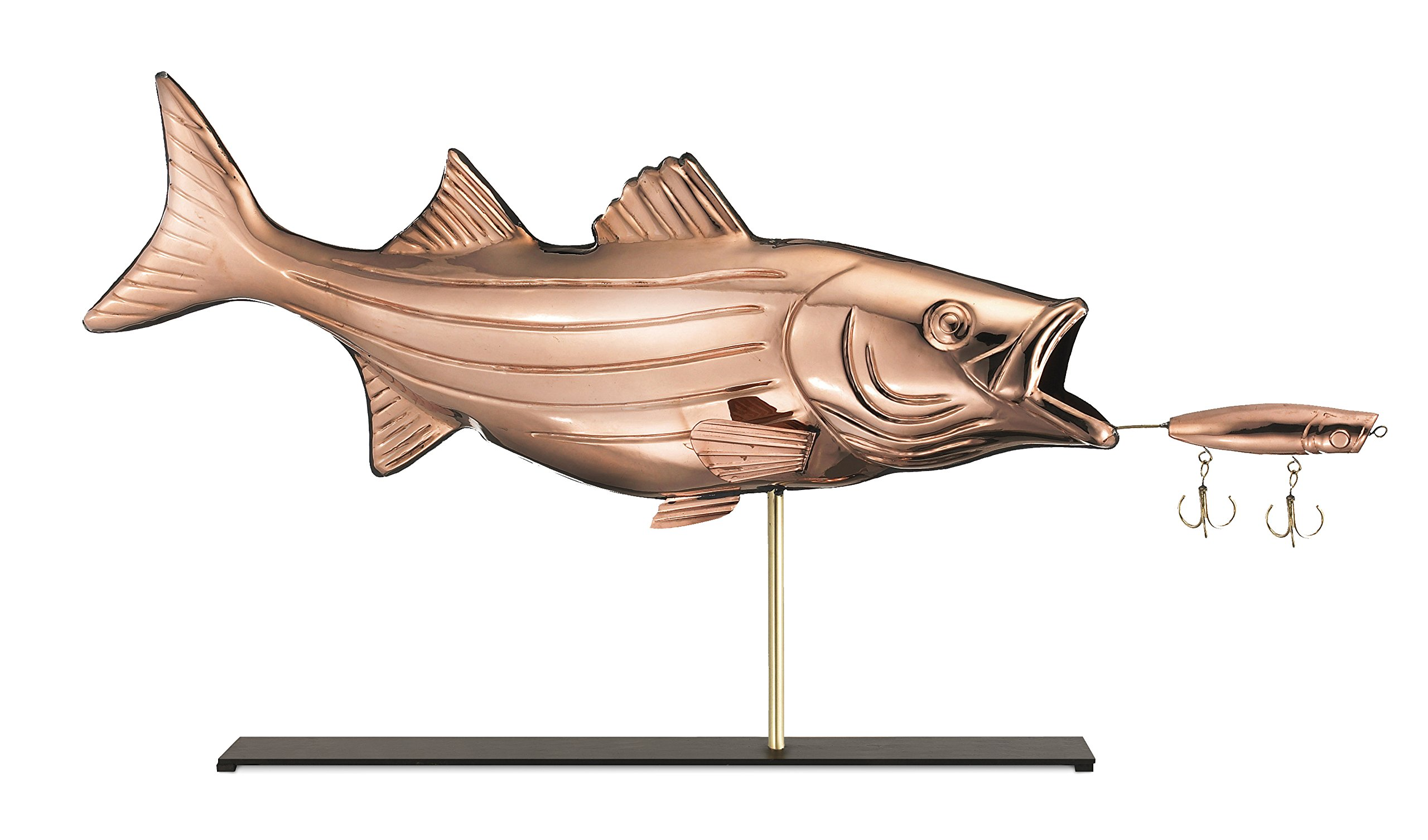 Good Directions Bass with Lure Weathervane Sculpture on Mantel / Fireplace Stand, Pure Copper, Sporting Home Décor, Tabletop Accent