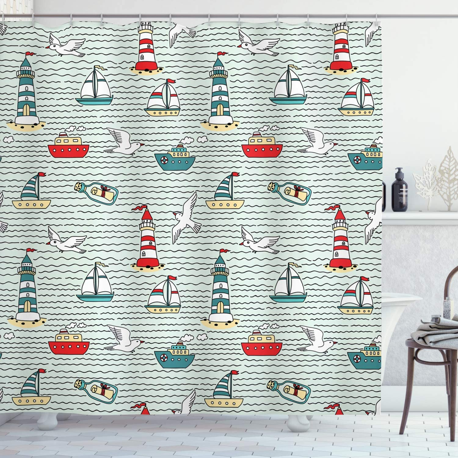 Ambesonne Lighthouse Shower Curtain, Seagulls Lighthouses Message Bottles Steamboats Sailboats Wavy Pattern Nautical, Cloth Fabric Bathroom Decor Set with Hooks, 75