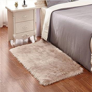 LIYINGKEJI Faux Schaffell Bereich Teppich Silky Shag Teppich Braun  Flauschige Teppich Teppiche Boden Teppiche Dekorative Für