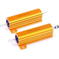 LM YN 50 Watt 25 Ohm 5% Wirewound Resistor Electronic Aluminium Shell Resistors Gold Suitable for Inverter LED Lights…