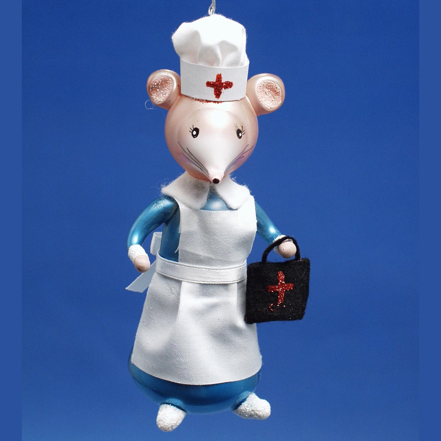 De Carlini Nurse Mouse Italian Glass Christmas Ornament