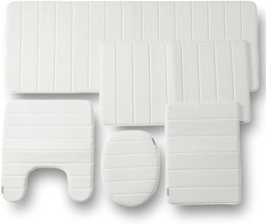 5 Piece Brown 5pc Set Townhouse Rugs Memory Foam Bathroom Combo Bathmats Toilet Covers Home Garden