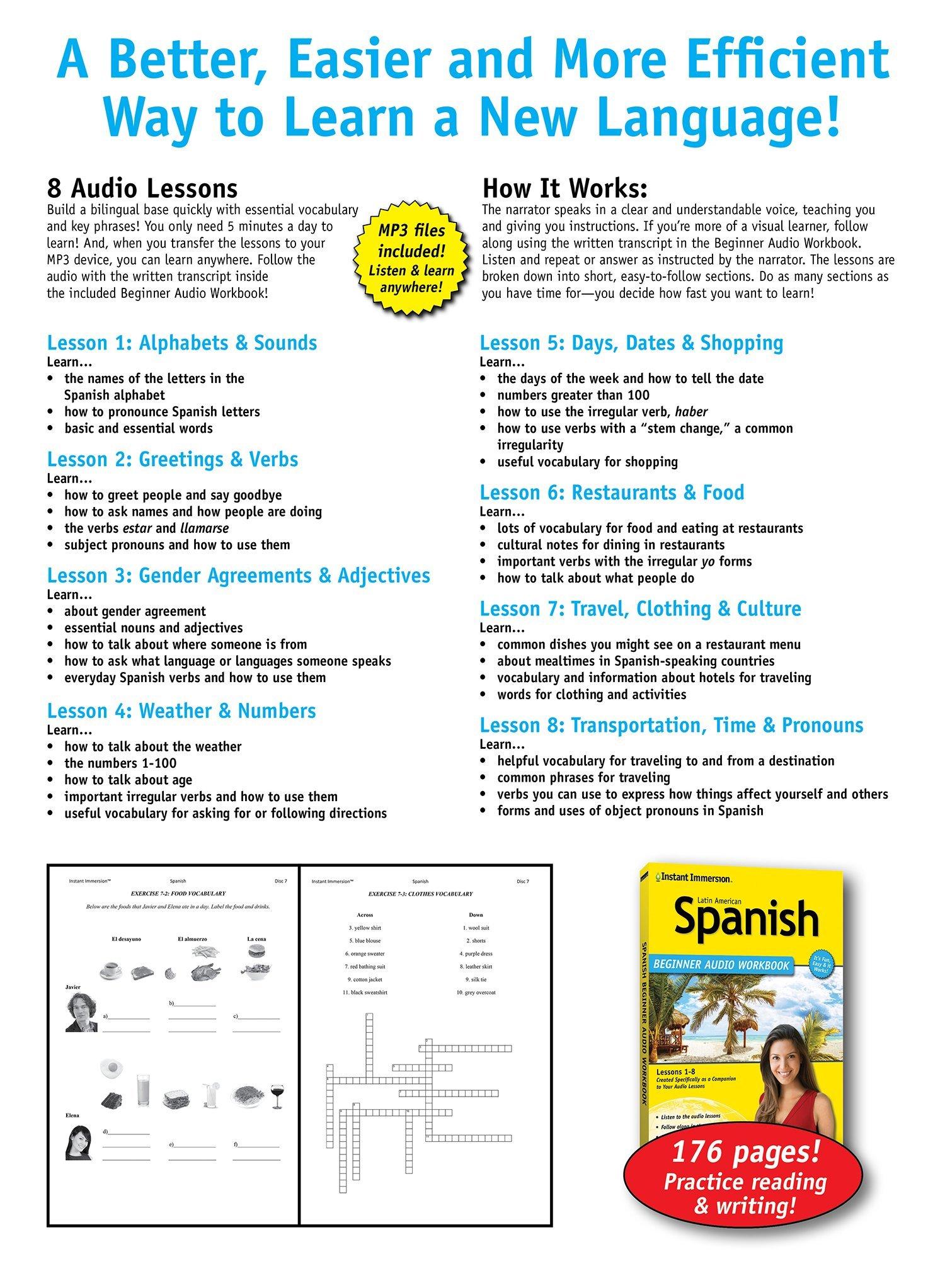 Learn latin american spanish beginner audio language course by learn latin american spanish beginner audio language course by instant immersion 2016 version spanish edition instant immersion 9781618945426 kristyandbryce Choice Image