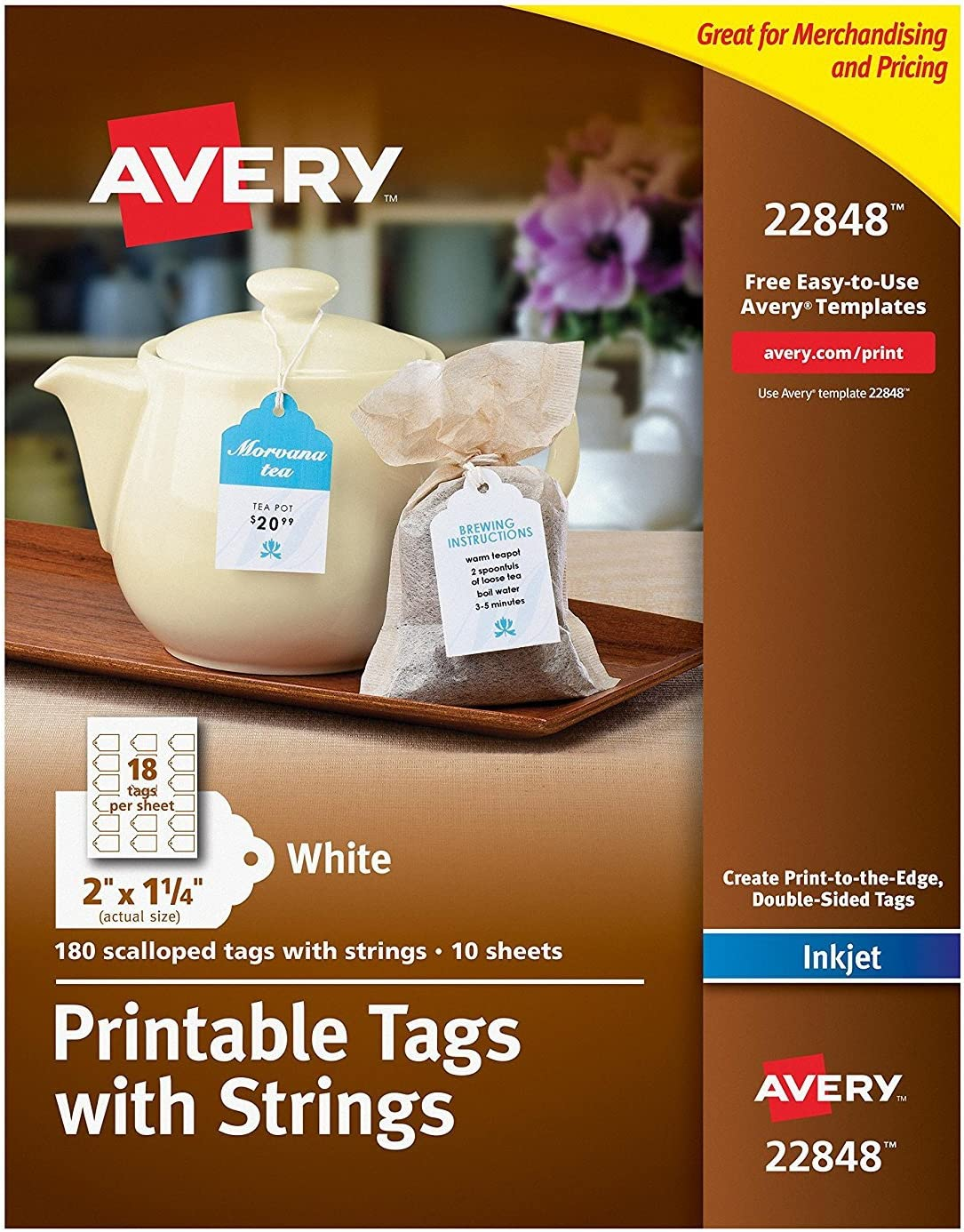 """Avery Printable Tags for Inkjet Printers Only, Scalloped Tags With Strings, 2"""" x 1.25"""", 180 Tags (22848)"""