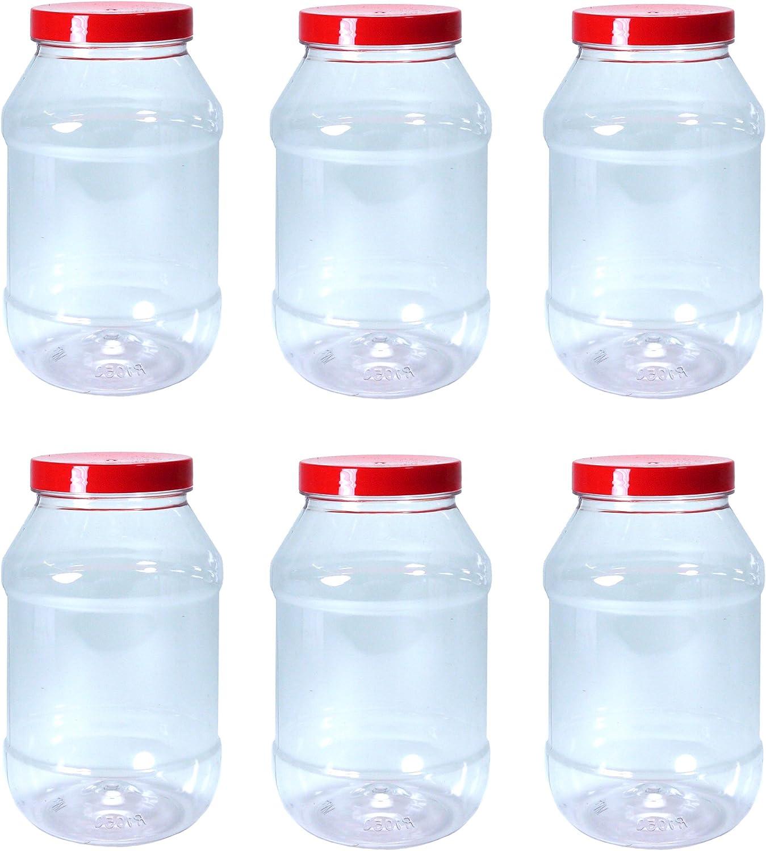 Conjunto de 6 recipientes grandes de plástico para alimentos 1000ml con tapas rojas por Britten & James