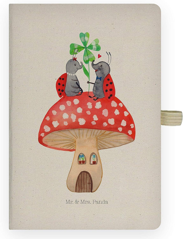 /& Mrs Panda Adressbuch Farbe Transparent Notizblock DIN A4 Baumwoll Notizbuch Marienk/äfer Paar Fliegenpilz Mr