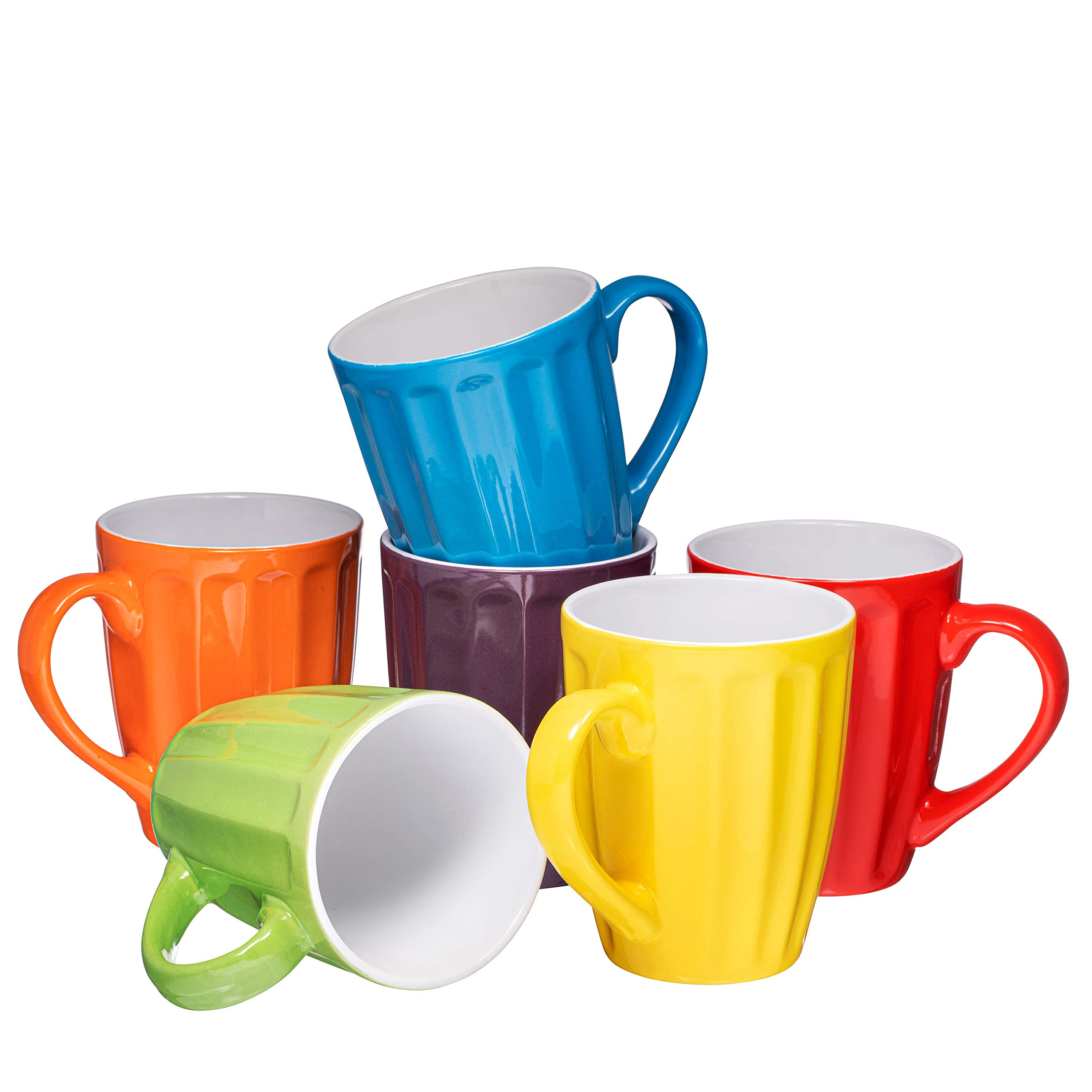 Set of 6 Large-sized 16 Ounce Ceramic Coffee Grooved Mugs, Multi-Color