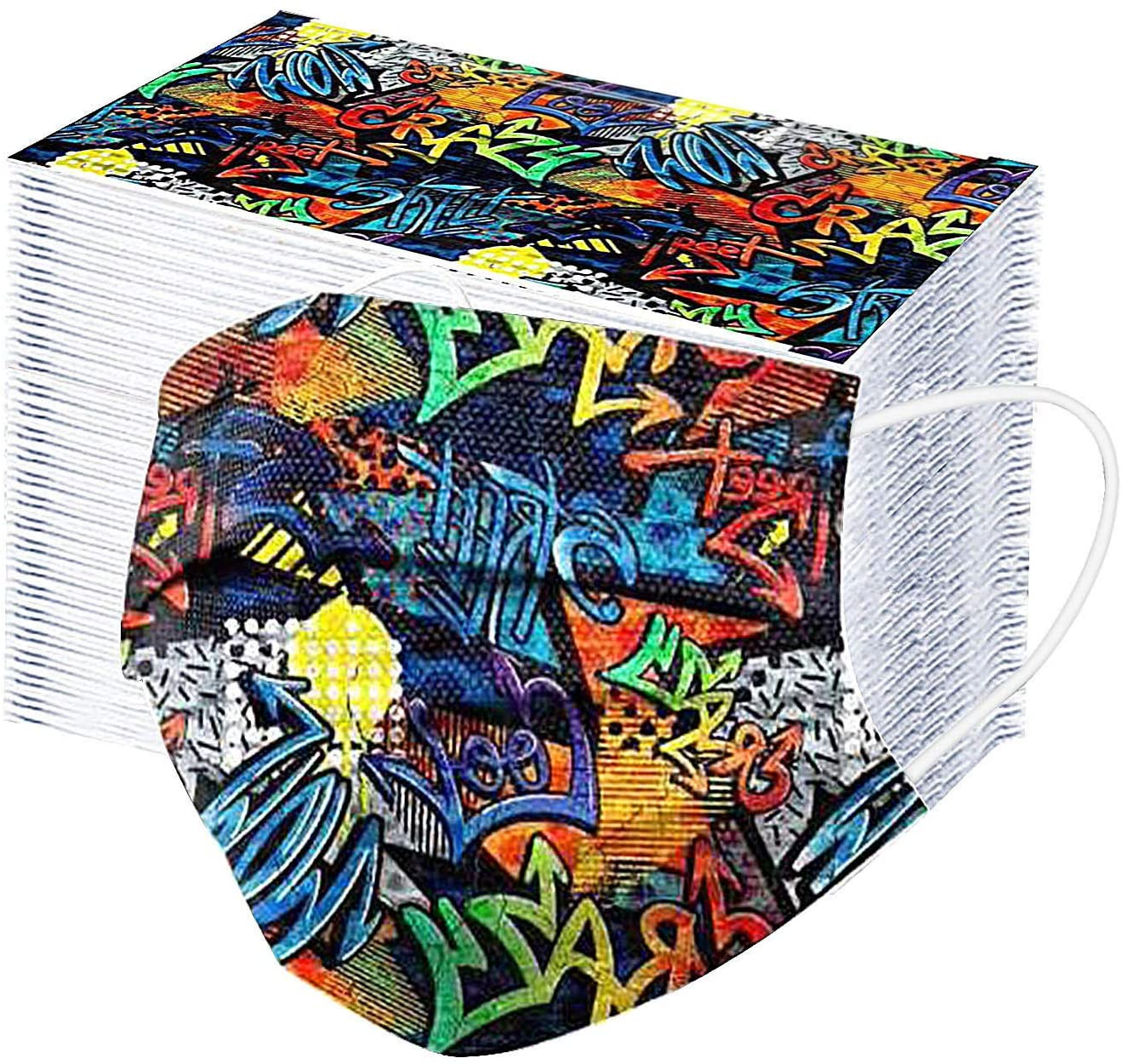 Disposable Face_mask Kids Face Bandanas 3 Ply Breathable Face Protection Color Graffiti Printed Mouth Bandanas Elastic Earloop Face Covering for Child Boy Girl