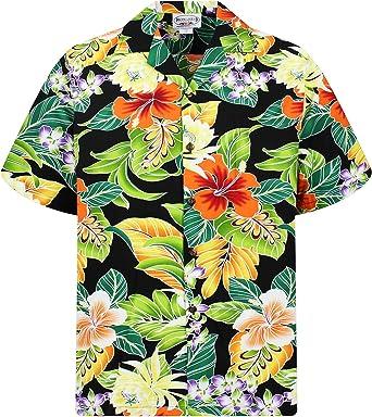Pacific Legend | Original Camisa Hawaiana | Caballeros | S - 4XL | Manga Corta | Bolsillo Delantero | Estampado Hawaiano | Flores | Negro: Amazon.es: Ropa y accesorios