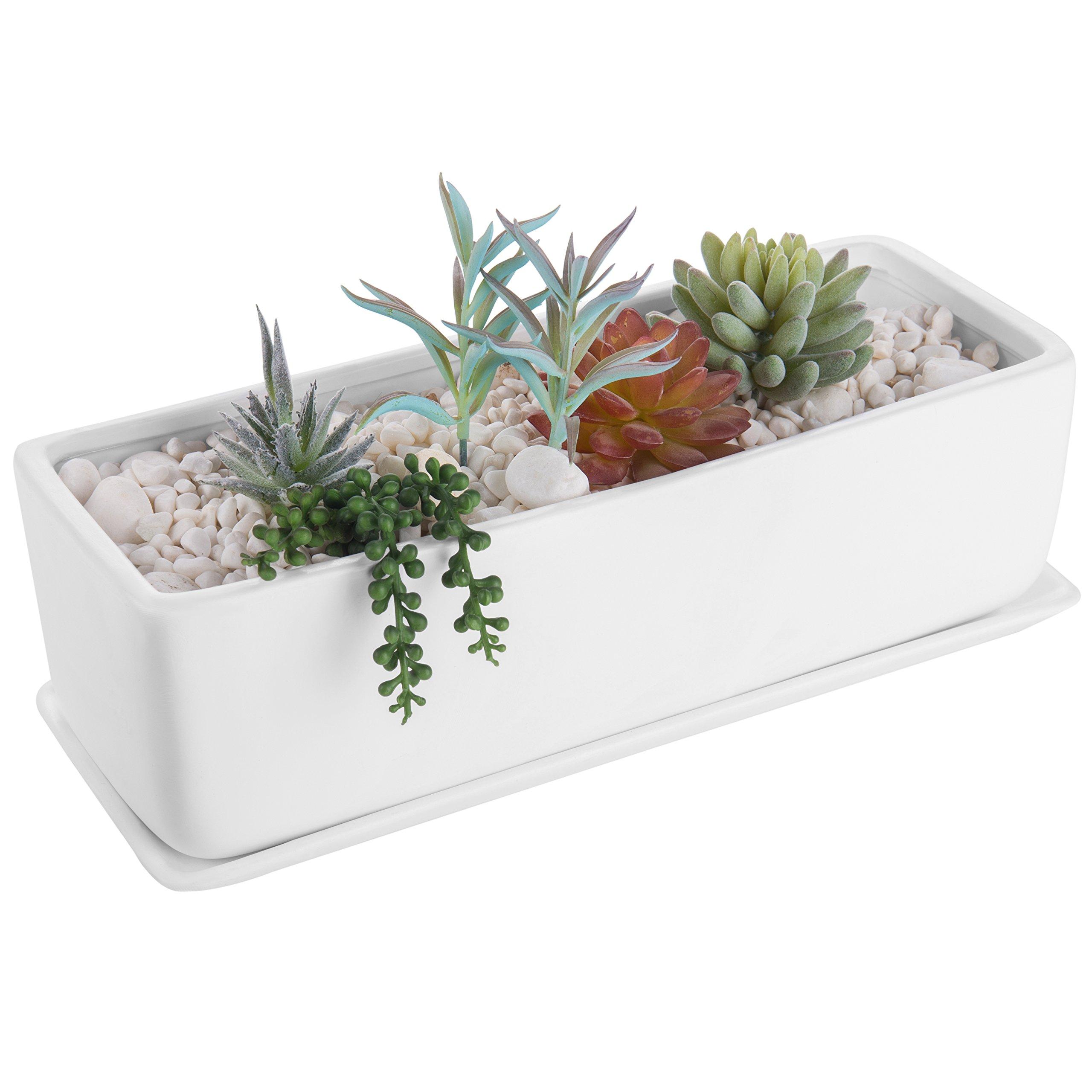 MyGift 14-Inch Rectangular Modern Ceramic Succulent Planter Pot, Window Box with Saucer, Matte White