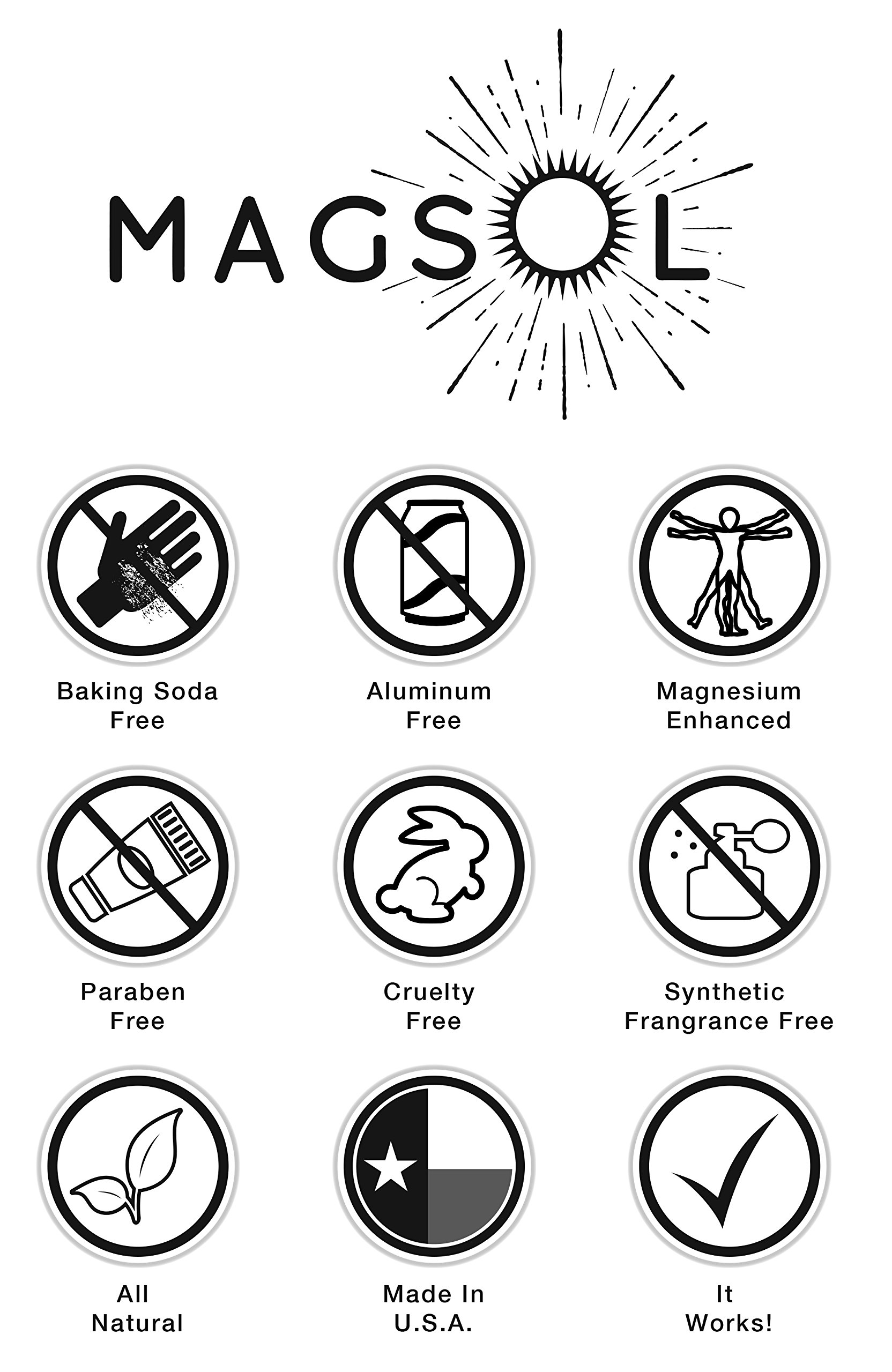 Rose Magnesium Deodorant - Aluminum Free, Baking Soda Free, Alcohol Free, Cruelty Free, Sensitive Skin, All Natural, For Women Men Boys Girls Kids, Magnesium Deodorant 2.8 oz (Lasts over 4 months) by MagSol Organics (Image #3)