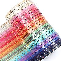 YUBX 24 Rolls Washi Tape Set,Foil Gold Skinny Decorative Masking Tape,3MM Wide Scrapbook Tape for DIY Craft Art Projects…