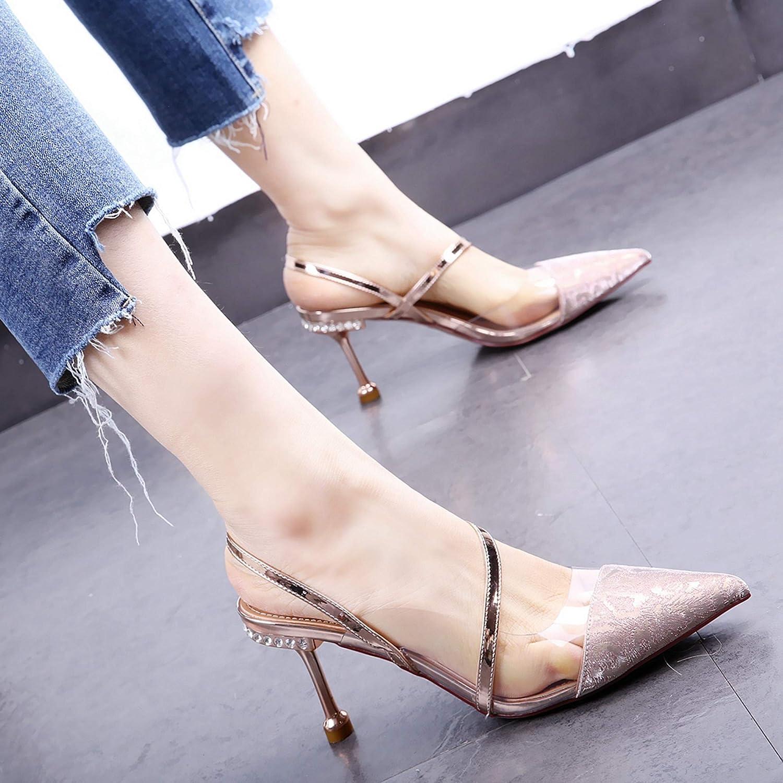 HOESCZS Dress Schuhe 19 Frühjahr und Sommer Neue Neue Neue Spitze Strass Stiletto High Heel Katze mit Strass S Gürtel Sandalen einzelne Schuhe 520a87