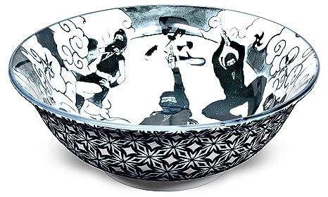 Mino Ware Japanese Wide Mouth Ceramic Bowl, Udon Ramen Noodle Soup Bowl, Ninja Design, Black