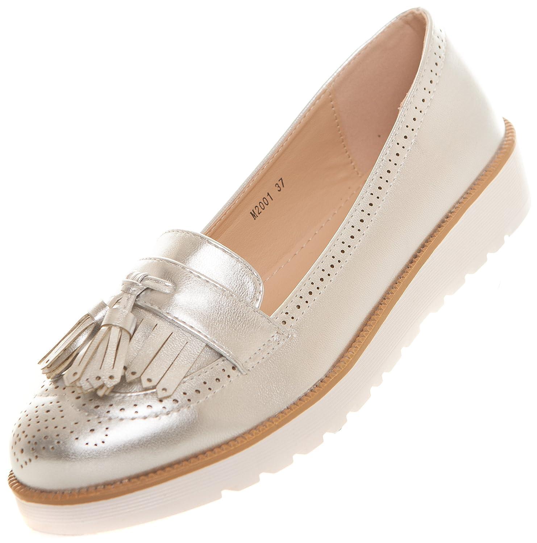 CAPRIUM Moderne Schuhe Espadrilles Sandalen Mokassin Fransen Halbschuhe Damen 000M2001