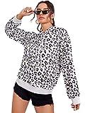 SweatyRocks Women's Causal Sweatshirt Leopard Long Sleeve Drawstring Hoodies Lightweight Pullover Tops