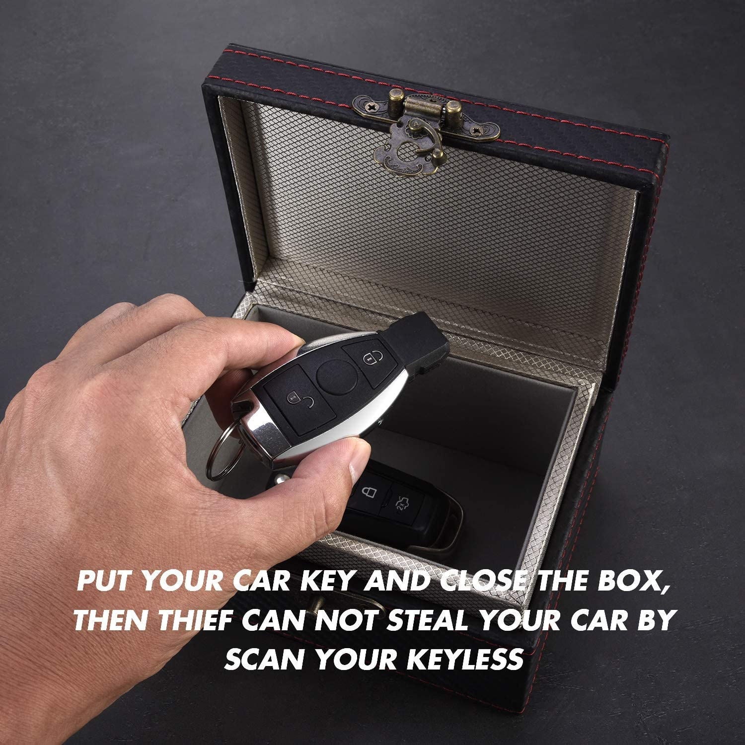 Car Key Faraday Cage Large Box with Black PU Leather Shell Anti Theft Key Fob RFID Signal Blocker Security Prevent Your Vehicle Keys from Being Scanned by Criminal