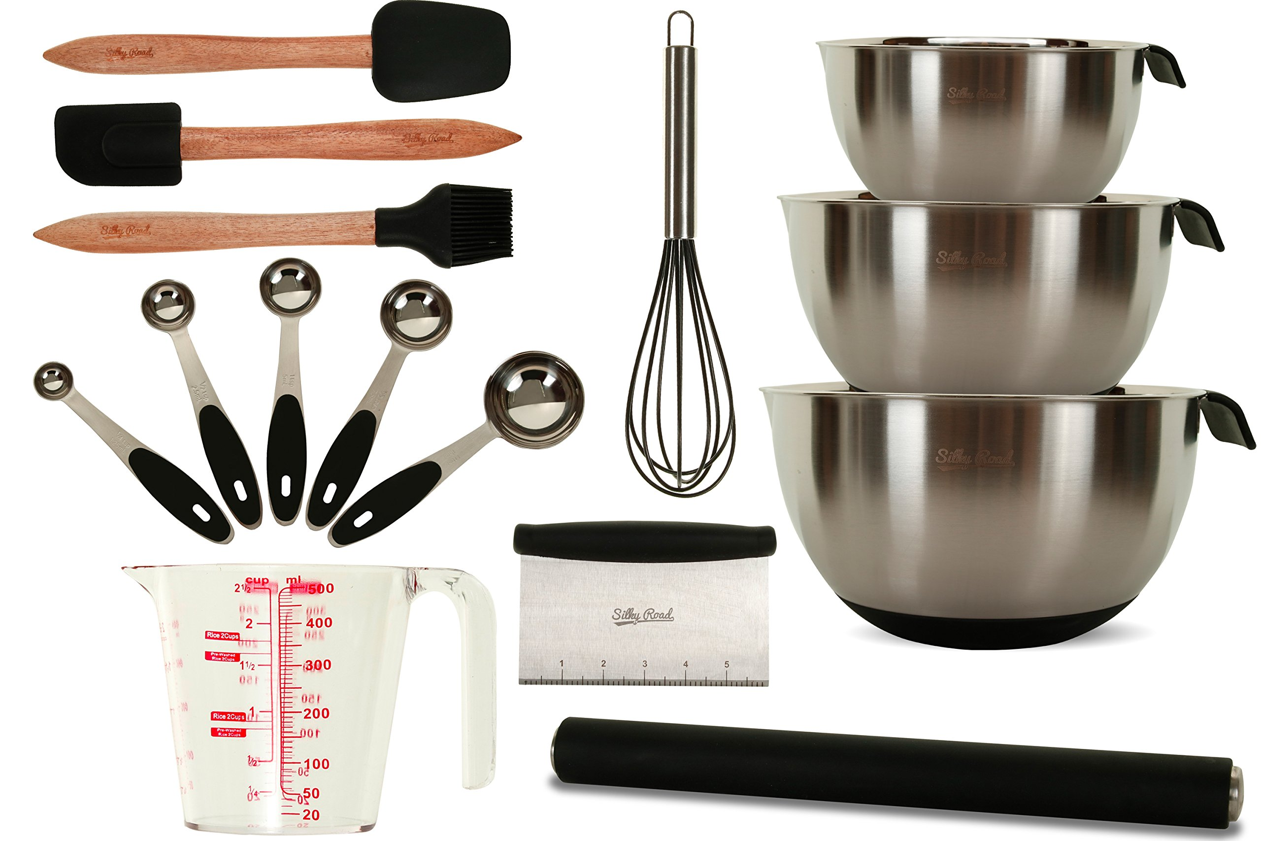 15-Piece Commercial Professional Baking Set | Stainless Steel & Silicone Bakeware | 3 Mixing Bowls | Rolling Pin | Measuring Cup + 5 Spoons | Basting Brush | Whisk | Spatula | Scraper | Dough Cutter