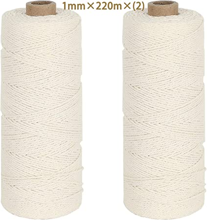 GoMaihe Hilo Macrame Cuerda, 1mm x 440m Cordón Hilo de Algodón Natural Colgante de Pared de Cuerda Macrame, para Envolver Regalo Navidad Colgar Fotos Manualidades Costura, Beige: Amazon.es: Hogar