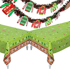 Ugly Sweater Christmas Party Decoration Set, 2 Tablecloths and 2 Garland Banner Each 6 ft. Holiday Party Supplies, by 4E's Novelty