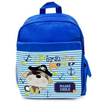 3d476a6fa6ba Personalised School Bag CHEEKY MONKEY PIRATE Boys Backpack Book Kids  Rucksack - Blue ST134