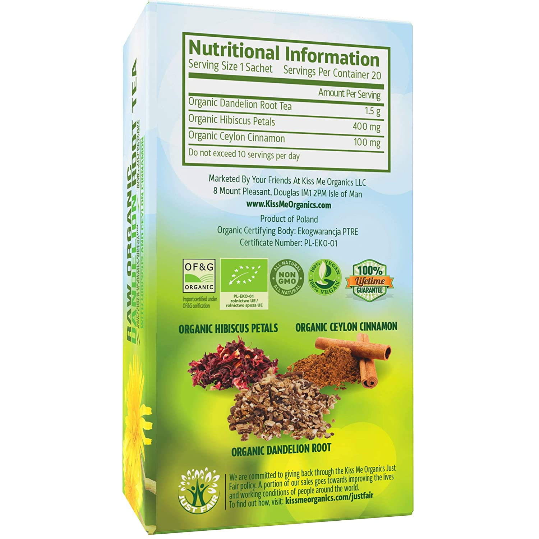 Té de raíz de diente de león – Té orgánico, con vitaminas - 1 paq. (20 bolsas de 2 grs) - Limpia el organismo - Mejora la digestión y fortalece el ...