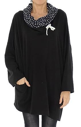 Mein Design Lagenlook de Mallorca Damen Tunika HR800 Rollkragen Shirt Hoody  Jersey Gr. 40,