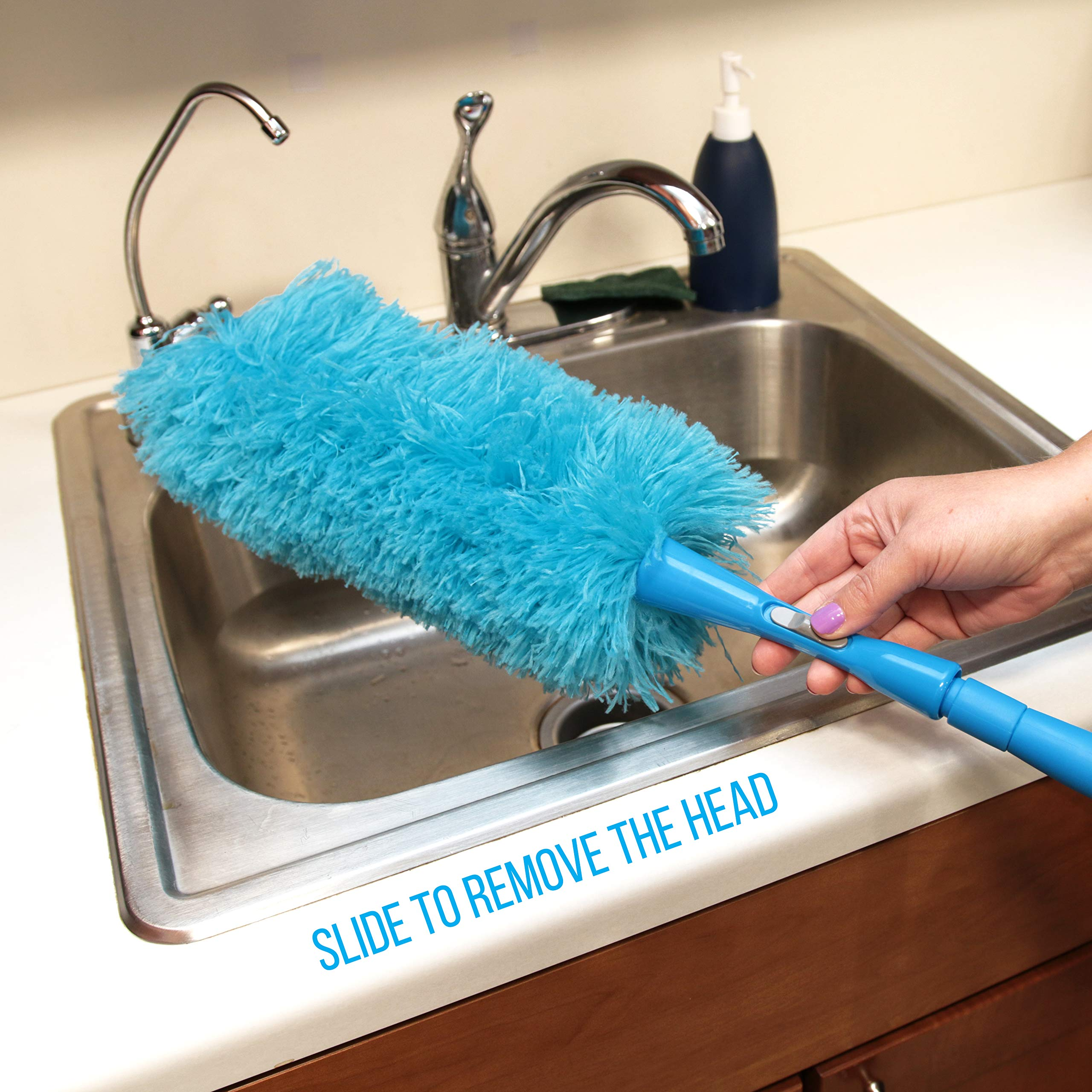 Hank HouseHold TriboDuster with Bonus Blinds Cleaner - Microfiber Duster for Cleaning with Extendable Telescoping Pole Up to 5ft6''! Ceiling Fan Dusters, Cobweb/Spider Web Brush and Blind Duster by Hank HouseHold (Image #4)