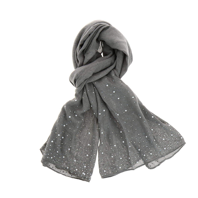 FASHIONGEN Sciarpa donna in cotone con perle e strass ALOISE