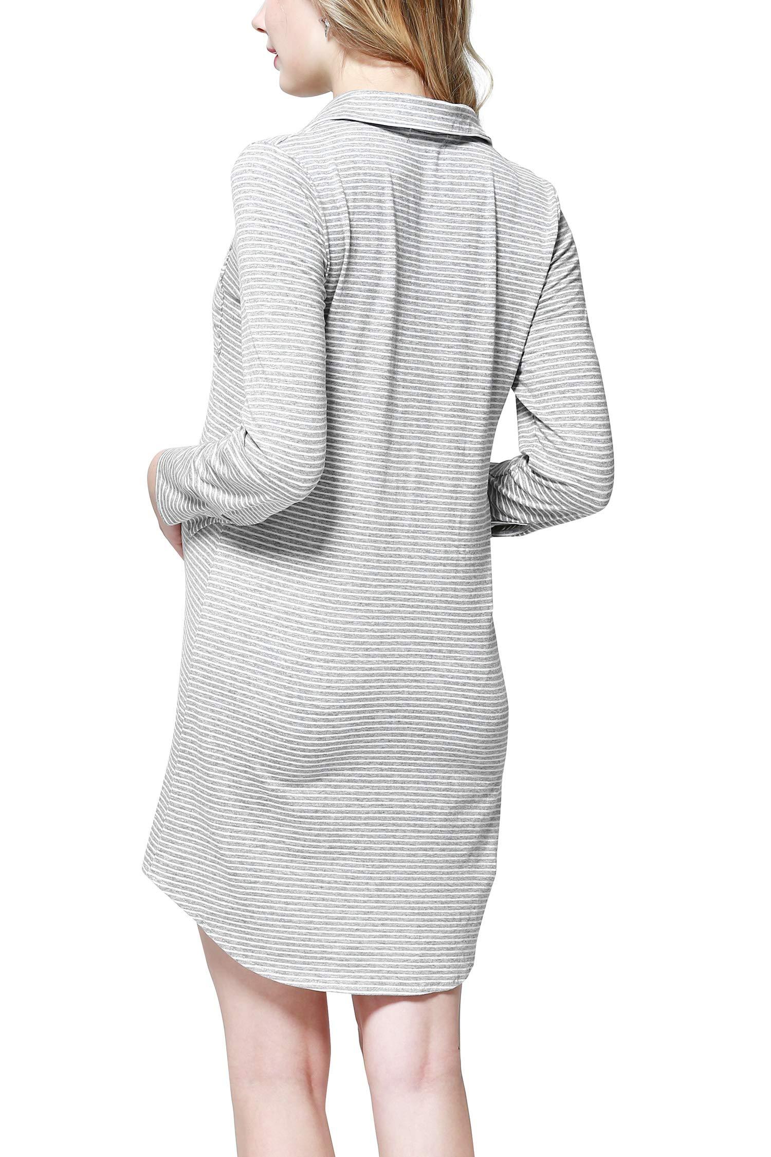 Dance Fairy Molliya Women's Maternity Dress Stripes Nursing Nightgown Breastfeeding,Lapel Collar Pajamas (Gray, M) by Dance Fairy (Image #3)