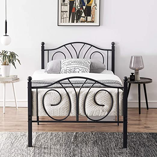 VECELO Twin Size Bed Frame Metal Platform Mattress Foundation//Box Spring Replacement,with Headboard /& Footboard//Easy Assemble,Black