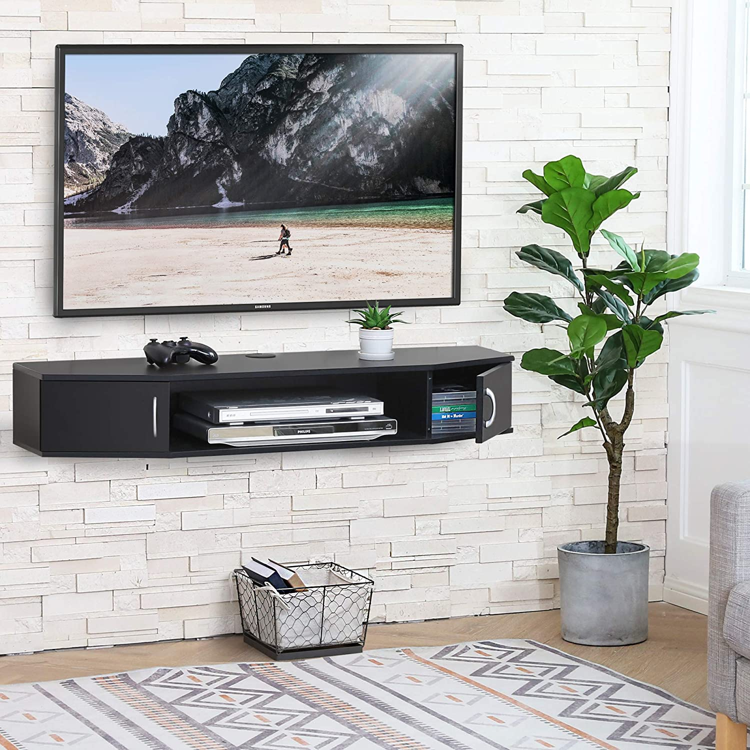 FITUEYES Wall Mounted TV Media Console Floating Desk Storage Hutch for Home and Office DS211001WB