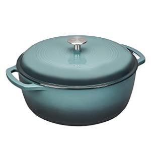 Amazon Basics Enameled Cast Iron Dutch Oven-7.3-Quart, Grey, 7.3QT