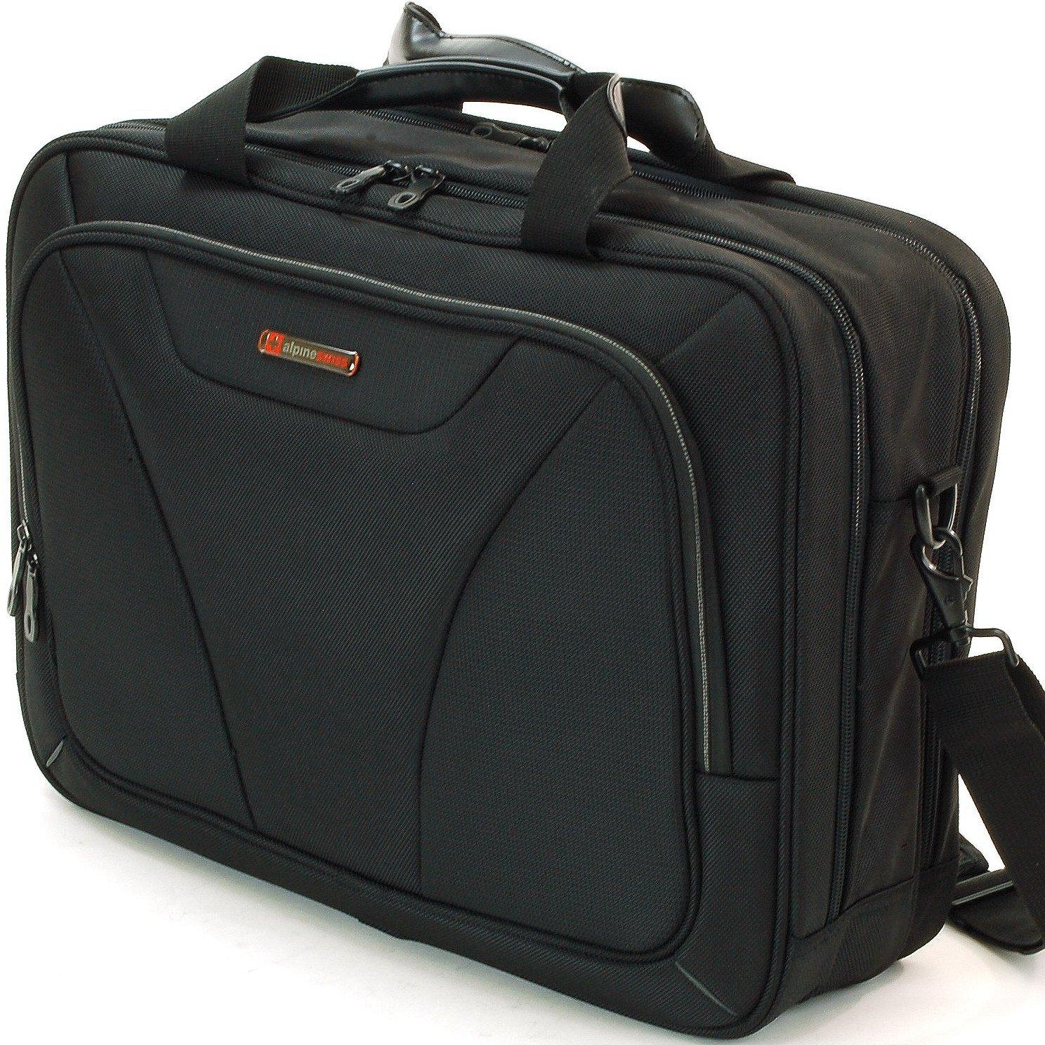 "Alpine Swiss Cortland 15.6"" Laptop Bag Organizer Briefcase Black By Alpine Swiss"