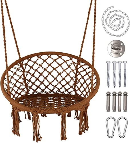 LAZZO Hammock Chair, Hanging Knitted Mesh Cotton Rope Macrame Swing, with Hanging Kit and Chain, Max 260lbs, for Bedroom, Outdoors, Garden, Patio, Yard. Child, Girl, Adult Brown