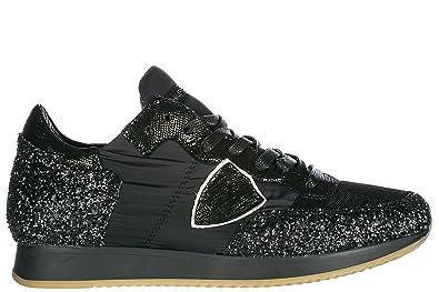 d033b0bca30 Philippe Model Chaussures Baskets Sneakers Femme en Daim Tropez Noir EU 36  A18ETRLDGT16