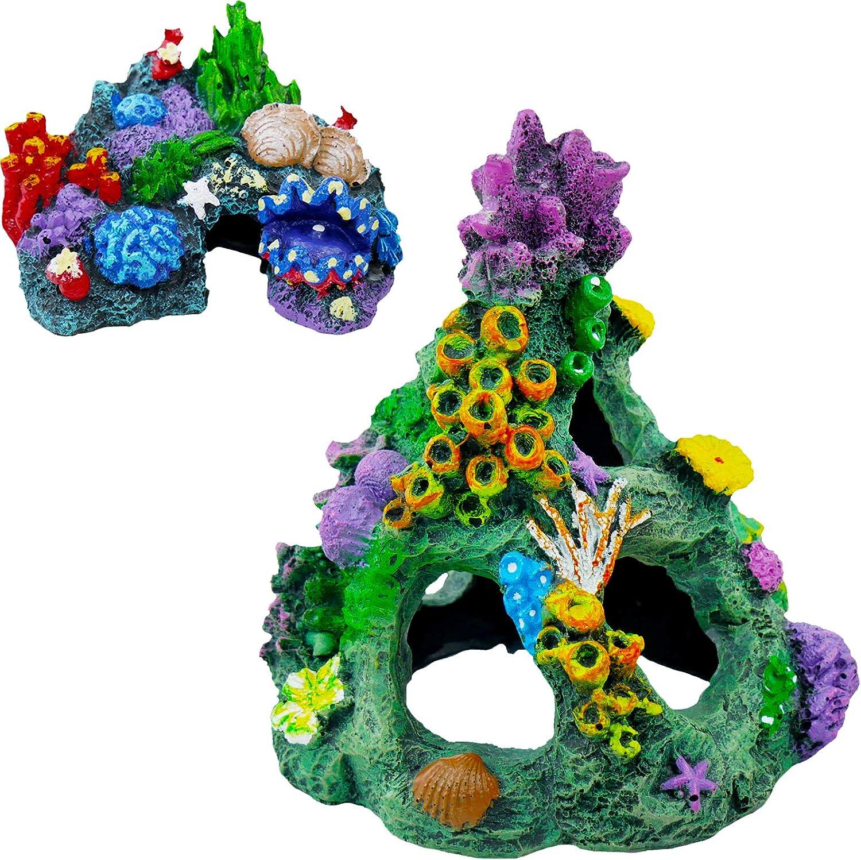NONE/BRAND 2Pcs Fish Tank Decorations, Resin Aquarium Decorations Eco-Friendly & Non-Toxic Aquarium Rocks Lovely Colorful Coral Designs Ideal for Fish Tank, Terrarium, Mini Garden