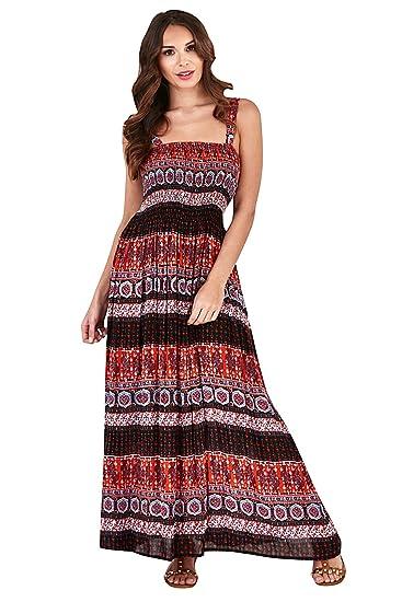 femmes Pistachio imprimé aztèque ou Motif Paisley sans manche croisé Robe  longue été - Orange, a55acb09fd91