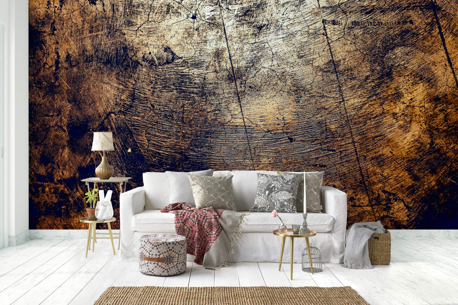 Amazon.com: Murwall Grunge Wallpaper Dark Texture Wall Mural Brown Pattern Wall Print Contemporary Home Decor Bedroom: Handmade