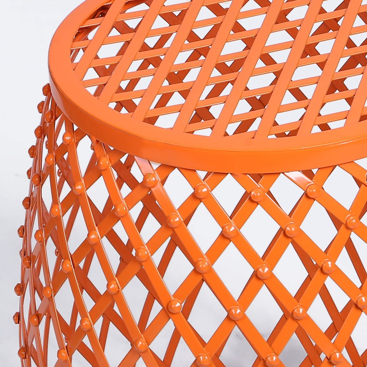 Metal Round Side End Table, Decorative Plant Night Stand Stool with Hatched Diamond Pattern Orange