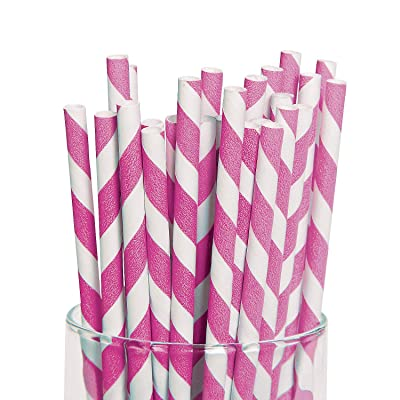 Fun Express - Hot Pink Paper Striped Straws (24 Pc) - Party Supplies - Drinkware - Straws - 24 Pieces: Toys & Games
