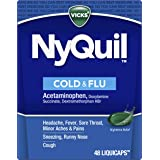 Vicks NyQuil Cough, Cold & Flu Nighttime Relief, 48 LiquiCaps - #1 Pharmacist Recommended, Nighttime Sore Throat, Fever…