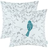 CaliTime Pack of 2 Cotton Throw Pillow Cases Covers for Bed Couch Sofa, Cute Bird in Gray Garden Embroidered, 18 X 18 Inches, Teal