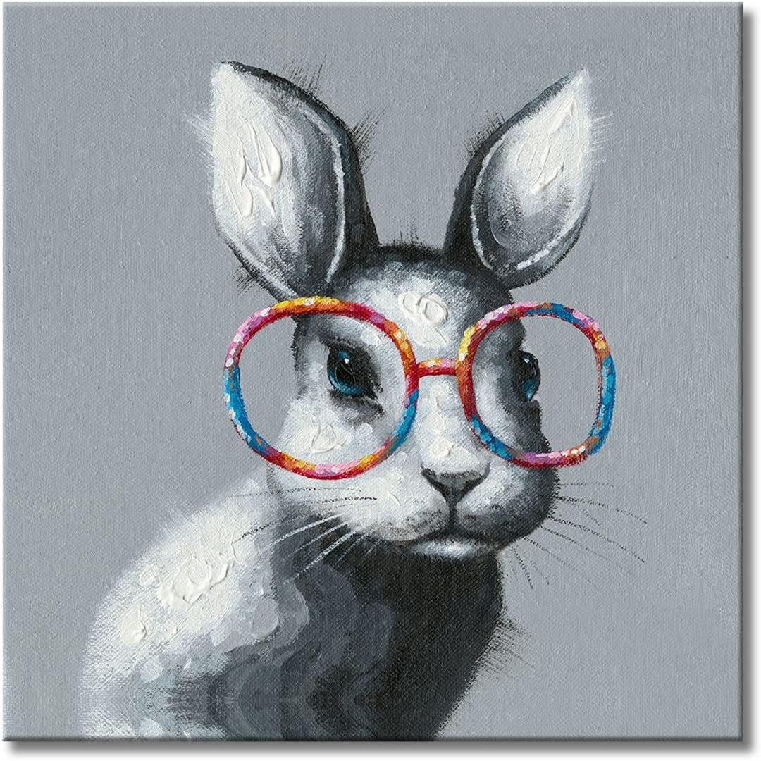 FLY SPRAY 1 Panel Framed 100 Hand Painted Oil Paintings Canvas Wall Art Rabbit with Glasses Bunny Animal Modern Abstract Artwork Painting for Living Room Bedroom Office Home Decoration