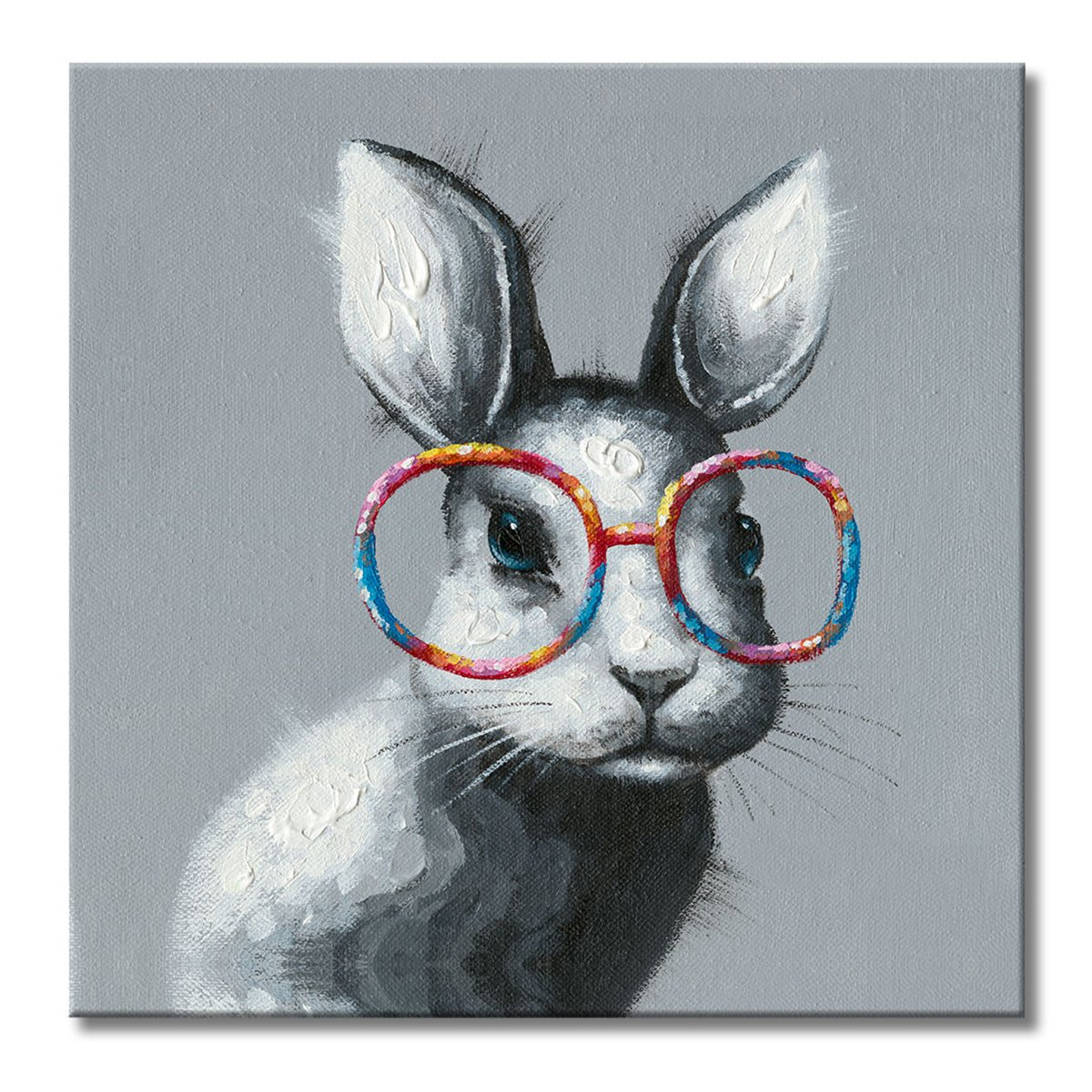 FLY SPRAY 1 Panel Framed 100% Hand Painted Oil Paintings Canvas Wall Art Rabbit with Glasses Bunny Animal Modern Abstract Artwork Painting for Living Room Bedroom Office Home Decoration