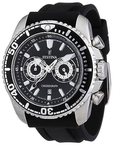 Festina F16574/4 - Reloj cronógrafo de cuarzo para hombre con correa de caucho, color negro: Festina: Amazon.es: Relojes